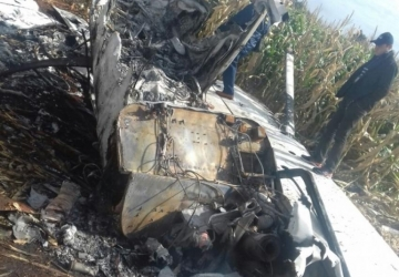 Avião é incendiada é encontrada em plantação de milho