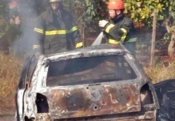 Veículo bate em árvores e motorista morre carbonizado